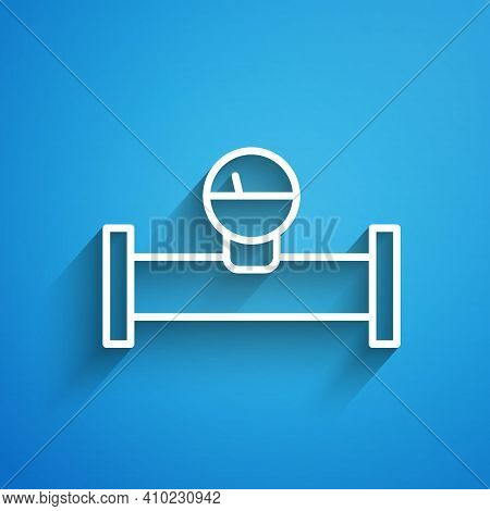 White Line Industry Metallic Pipe And Manometer Icon Isolated On Blue Background. Long Shadow. Vecto