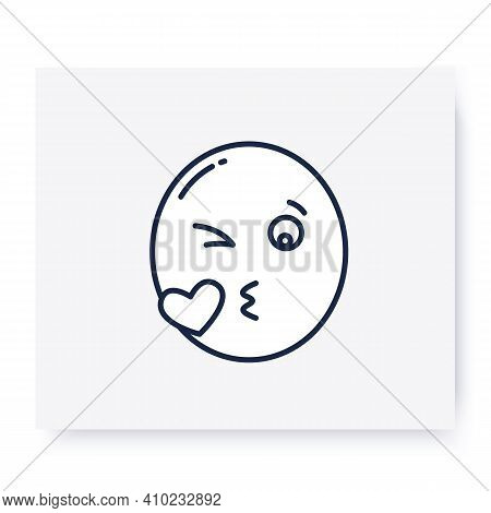 Blowing Kiss Face Line Icon. Kissing Face, Romantic Cute Emoticon. Facial Expression Emoji. Isolated