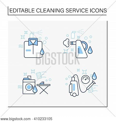 Cleaning Services Line Icons Set.consists Of Dry Cleaning, Laundry, Steaming, Pressure Washing. Clea