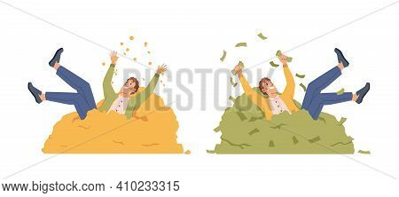 Businessman Lie On Heap Of Money Isolated Flat Cartoon Characters Bathing In Gold And Bills. Vector