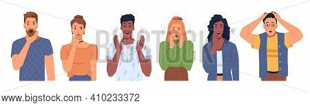 Shocked Scared People Faces Set Isolated Flat Cartoon Portraits. Vector Man And Woman In Stress, Pan