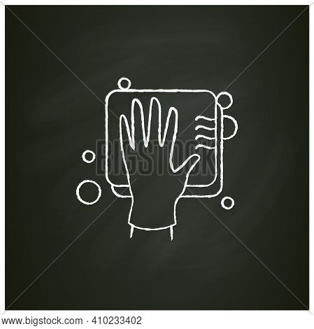Cleaning Sponge Chalk Icon. Wiping With Sponge. Housekeeper Hand In Glove Pictogram. Wet Cleaning. H