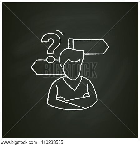 Decision Making Chalk Icon. Person Avatar With Two Road Signs And Question. Concept Of Mind Concentr
