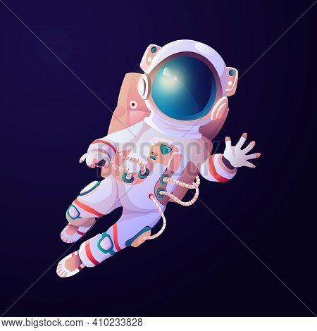 Astronaut Scientific Hero Waving Hand In Cosmos. Vector Cartoon Astronomy Explorer In Space Suit And