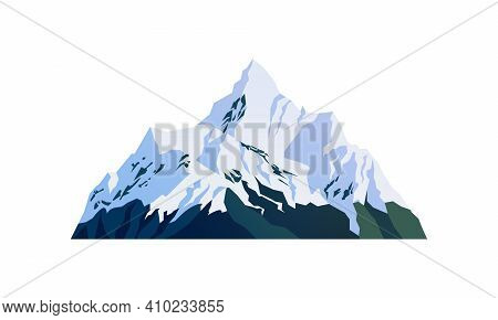 Mountain Snow-capped Peaks, Snowy Rocky Cliffs Isolated Cartoon Icon. Vector Landscape, Travel Adven