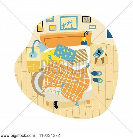 A Mess In Bedroom. Top View Interior In Flat Style. Cozy Room With Bed. Snugly Sleeping. Vector Illu