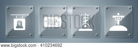 Set Grave With Cross, Grave With Cross, Speech Bubble Rip Death And Signboard Tombstone. Square Glas