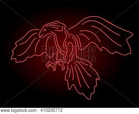 Colorful Illustration With Beautiful Shiny Red Neon Predatory Bird Silhouette On The Dark Background