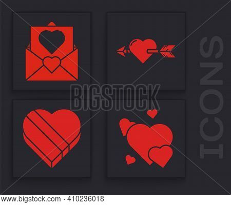 Set Heart, Envelope With Valentine Heart, Amour With Heart And Arrow And Candy In Heart Shaped Box I
