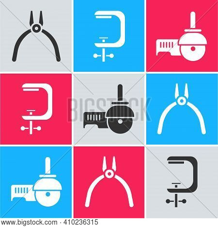 Set Pliers Tool, Clamp And Screw Tool And Angle Grinder Icon. Vector