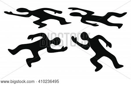 Victim Body Icon Set. Black Silhouette Of Dead Man. Vector Symbol Of Corpse Isolated On White Backgr