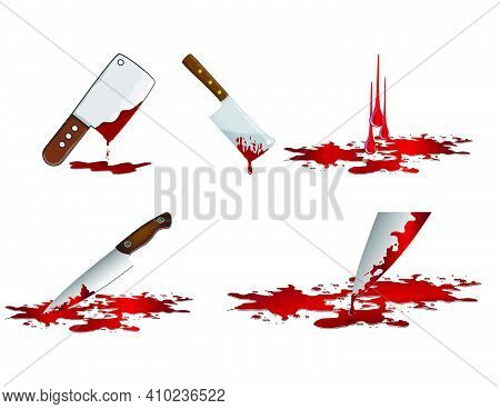 Bloody Knife Set. Murder Weapon With Red Blood Stains. Criminal Vector Illustration Isolated On  Whi