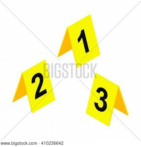 Crime Scene Markers Icon. Yellow Plastic Investigation Label Design Set With Number One, Two, Three.