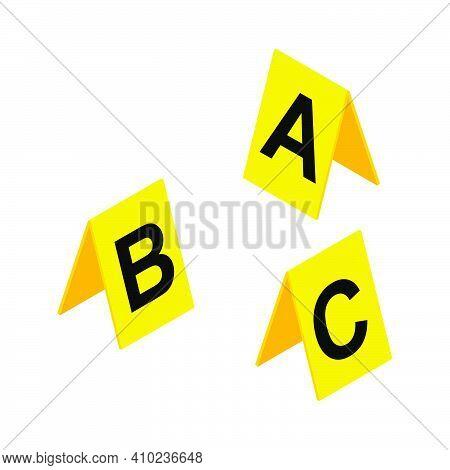 Crime Scene Markers Symbol. Plastic Yellow  Investigation Label Design Set With Letter A, B, C. Crim