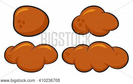 Poo, Poop Faeces Set. Human Or Animal Stool Set. Vector Cartoon Illustration Isolated On White. Back