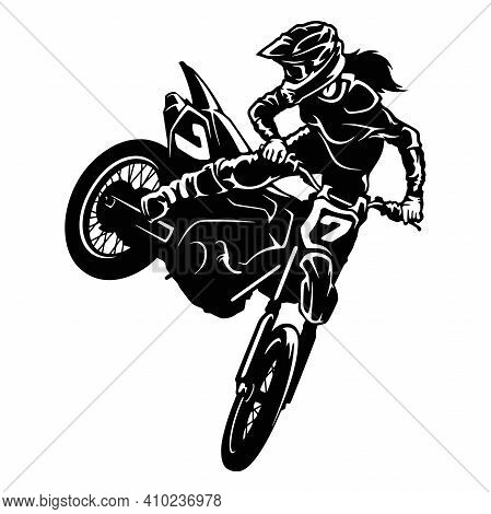 Sexy Girl And Motocross Motorcycle - Enduro, Freestyle - Motocross Extreme Sport, Freestyle Girl - C