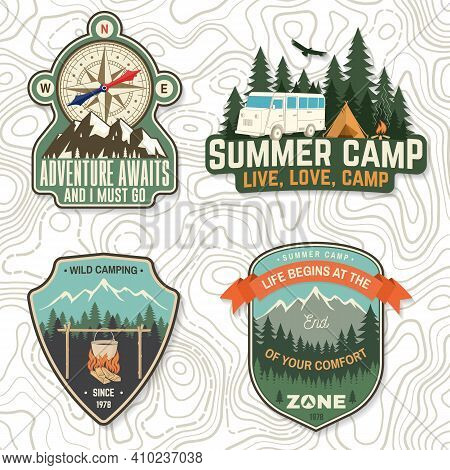 Set Of Camping Badges, Patches. Vector Illustration. Concept For Shirt Or Logo, Print, Stamp Or Tee.