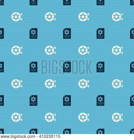 Set Torah Scroll And Jewish Synagogue On Seamless Pattern. Vector