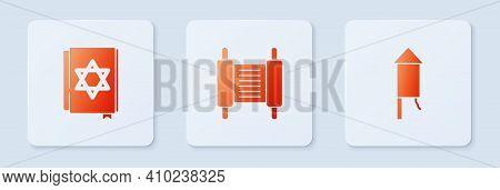 Set Torah Scroll, Jewish Torah Book And Firework Rocket. White Square Button. Vector