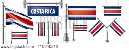 Vector Set Of The National Flag Of Costa Rica In Various Creative Designs