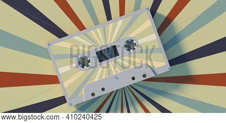 Retro Audio Cassette Tape On Colorful Background. 3D Illustration