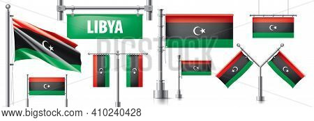 Vector Set Of The National Flag Of Libya In Various Creative Designs
