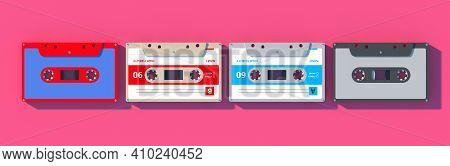 Vintage Audio Cassette Tapes Collection On Pink Background, Retro Music. 3D Illustration