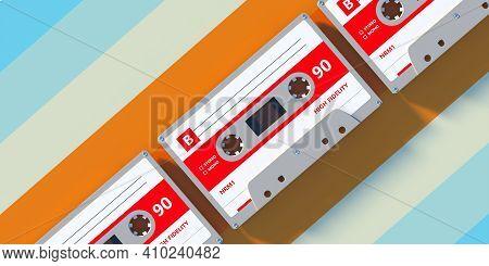 Vintage Audio Cassette Tapes Background, Retro Music. 3D Illustration