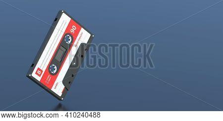 Vintage Audio Cassette Tape On Black Background, Copy Space. Retro Music. 3D Illustration