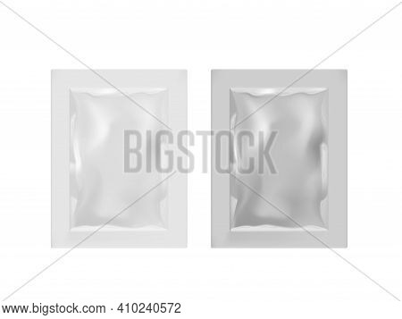 White Blank Paper Sachet Food Bag On White