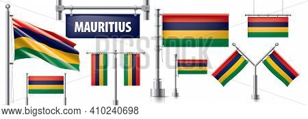 Vector Set Of The National Flag Of Mauritius In Various Creative Designs