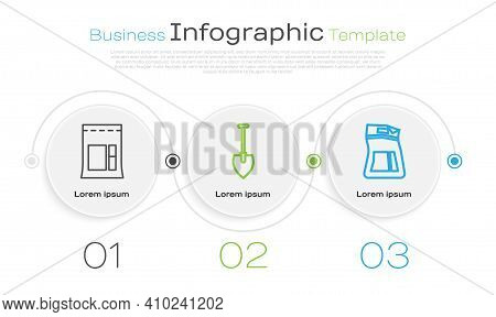 Set Line Cement Bag, Shovel And Cement Bag. Business Infographic Template. Vector