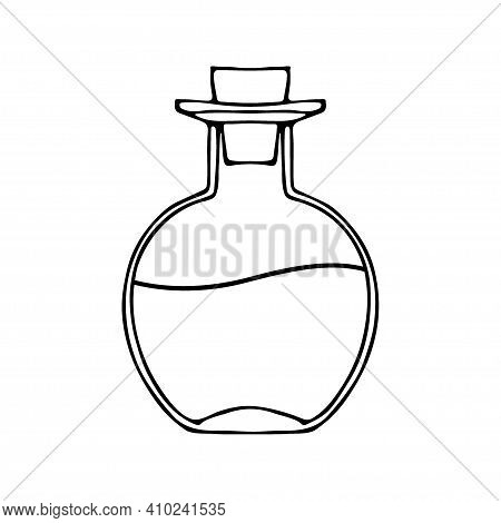 Glass, Bottle, Black, Wtite, Linear, Doodle, Background, Illustration, Isolated, Object, Vector, Whi
