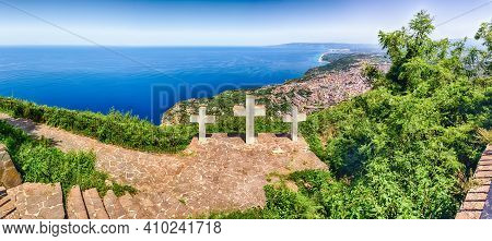 The Iconic Three Crosses On The Top Of Mount Sant'elia Overlooking The Town Of Palmi On The Tyrrheni