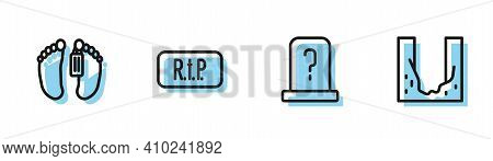 Set Line Grave With Tombstone, Dead Body, Speech Bubble Rip Death And Cemetery Digged Grave Hole Ico