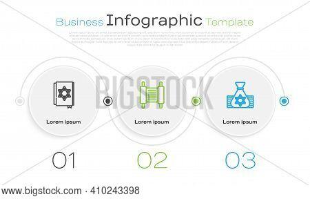 Set Line Jewish Torah Book, Torah Scroll And Money Bag. Business Infographic Template. Vector
