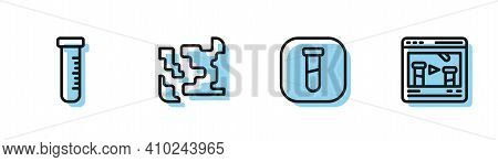 Set Line Test Tube And Flask, , Gaseous And Chemical Online Icon. Vector