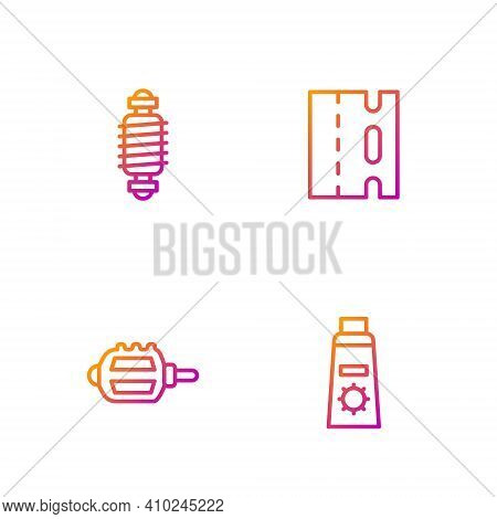 Set Line Sunscreen Cream In Tube, Bicycle Pedal, Suspension And Lane. Gradient Color Icons. Vector