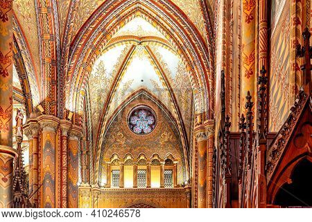 Budapest, Hungary - October 28, 2019: The Interior Of The Church Of The Assumption Of The Buda Castl