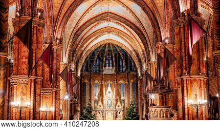 Budapest, Hungary - October 28, 2019: Sanctuary Of Matthias Church In Buda's Castle District Of Buda