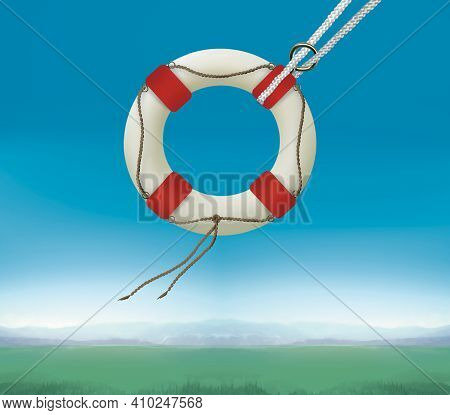 Lifebuoy Against Background Of Sky And Fields. Life Insurance. Humor Illustration
