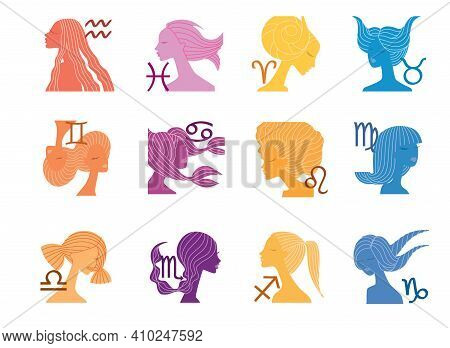 Set Of Zodiac Sign As The Head Of A Beautiful Girl With A Stylized Hairstyle, Illustration