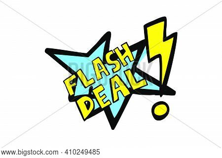 Vector Hand Draw Sketch Announcement, Flash Sale, Blue And Yellow Isolated On White