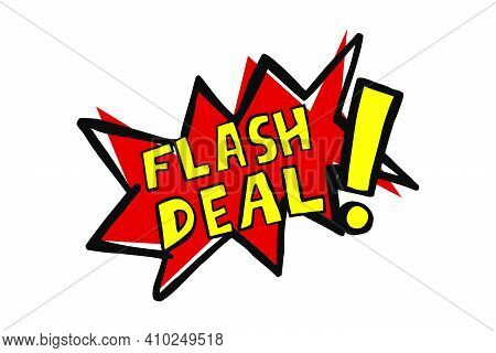 Vector Hand Draw Sketch Announcement, Flash Sale, Red And Yellow Isolated On White