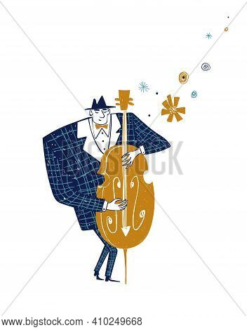 Illustration With Funny Isolated Double Bass Player In Plaid Suit. Jazz Musician Character Drawing.