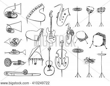 Illustrations Of Isolated Wind, Strings, Percussion Music Instruments. Outline Drawing Musical Colle