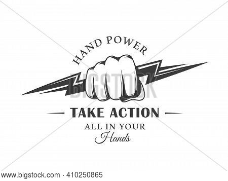 Vintage Logo Fist And Lightning Isolated On White Background. The Hand Clenched Into A Fist Holds A
