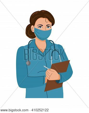 A Doctor In A Medical Mask Writes Down The Medical History. Healthcare. Vector Illustration.