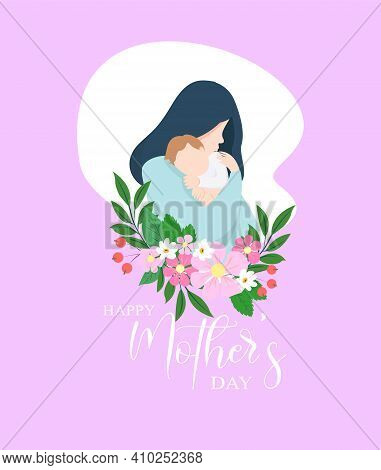 Mother And Son. Mothers Day Card, Background. Mother And Son With Flowers Vector Illustration. Happy