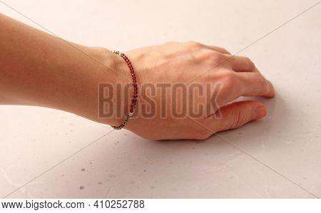 Ruby Bracelet. Bracelet Made Of Stones On Hand From Natural Stone Ruby. Bracelet Made Of Natural Sto